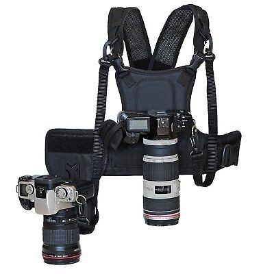 Nicad Multi Camera Carrying Chest Harness Vest System With Side Holster And Secu