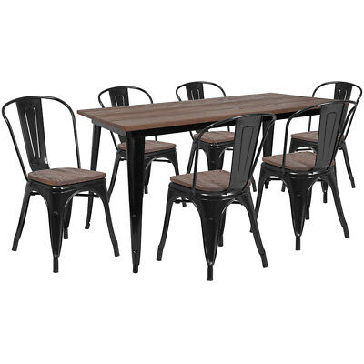 30.25 X 60 Black Metal Restaurant Table Set With Walnut Wood Top And 6 Chairs