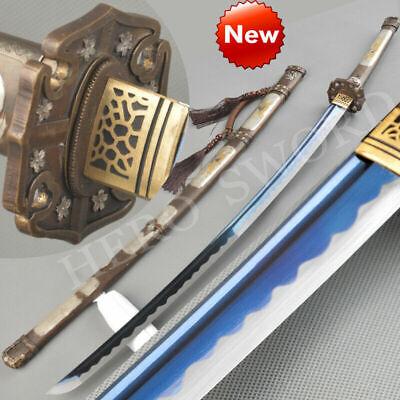 NEW Handmade Blue Blade Japanese Katana Sword Combat Ready T1095 Samurai Tachi