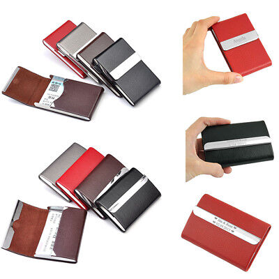 PU Leather Name Business Card Case Holder Waterproof Cover Personalised Engraved ()