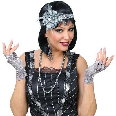 20er 30er Jahre Charleston Gatsby Flapper Kostüm Schmuck Set - silber - (Flapper Kostüm Accessoires)