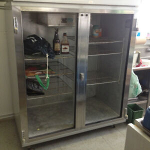 Stainless steel commercial fridge, works well, was in use now