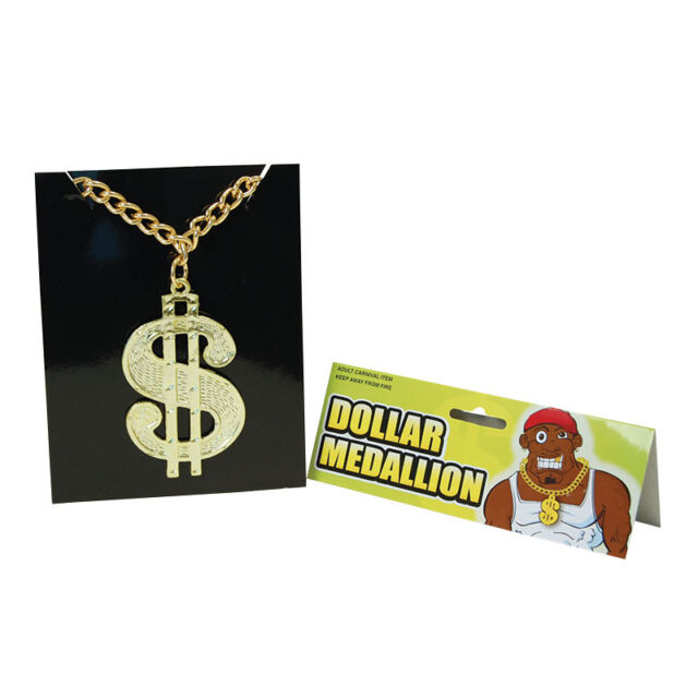 DOLLAR MEDALLION ON CHAIN PLASTIC GOLD PARTY ACCESSORY HIP HOP BLING RICH