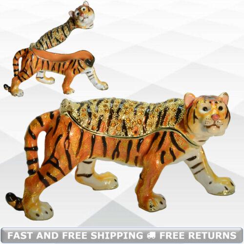 Tiger Animal Enameled Hinged Trinket Box Jeweled Crystals Jewelry Ring Organizer