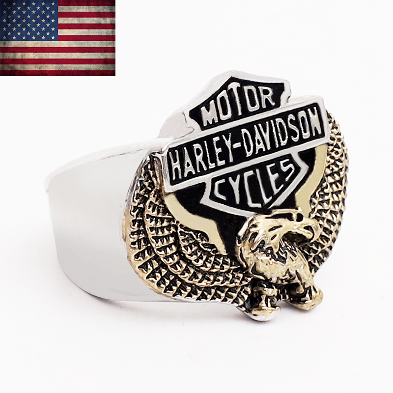 Harley-Davidson Mens Bar Shield Eagle Ring Stainless Steel Band Size 6-15 - $27.98
