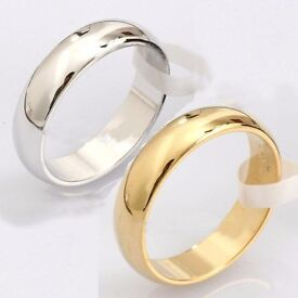 Stainless Steel Plain or Gold IP Polished Wedding Band Ring all sizes
