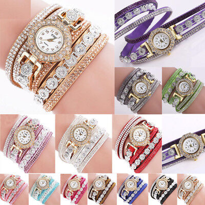 (Fashion Women Ladies Analog Quartz Bling Diamond Bracelet Dress Wrist Watch Gift)