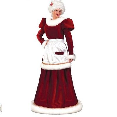 Traditional Christmas Velvet Mrs Santa Claus Adult Costume with Hoop