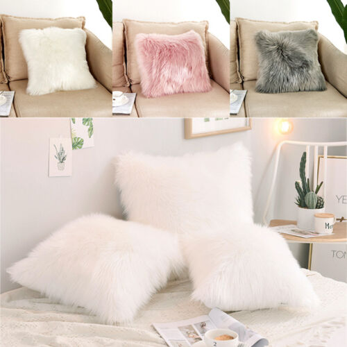 Dekokissen Zierkissen Sofa Wohndeko Schaffell-Imitat Langhaar grau weiß Cuddly