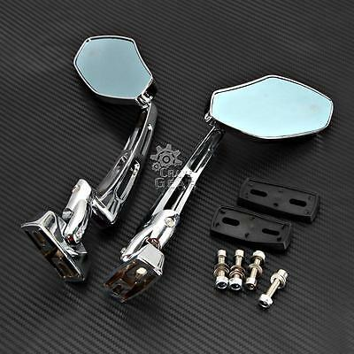 UNIVERSAL CHROME Blue MOTORCYCLE SPORTS BIKE CUSTOM RACING REARVIEW MIRRORS