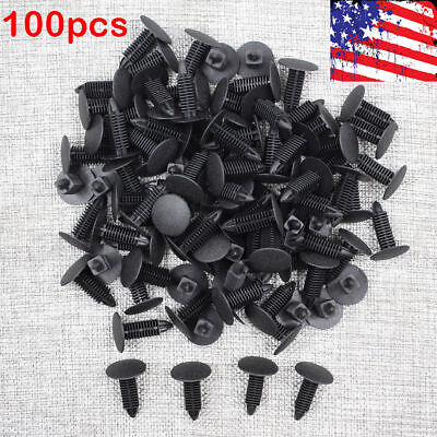 100 Pieces Auto Car Black Plastic Rivets Fastener Door Clips For 7Mm Hole
