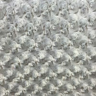 SILVER ROSE/ROSETTE MINKY FABRIC ROSEBUD BY THE YARD BABY SOFT SWIRL -