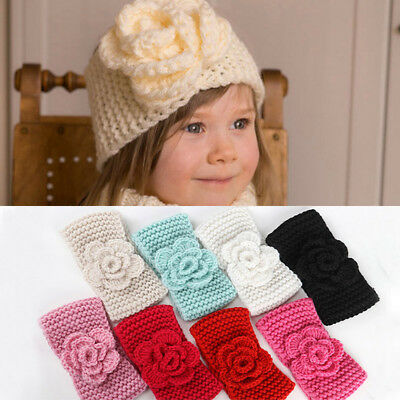 Knit Crochet Baby Headband Flower Knot Elastic Turban Girl Hair Band - Flower Crochet Headband