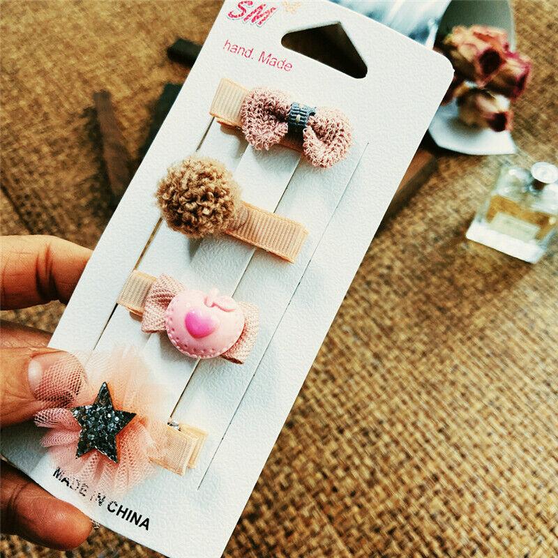 Clip Headwear Hair Accessories Baby Children Cute 4Pcs//set Clips For Kids Trendy