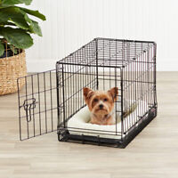Double-Door Folding Metal Dog Crate Cage - 13 x 16 x 22 Inches