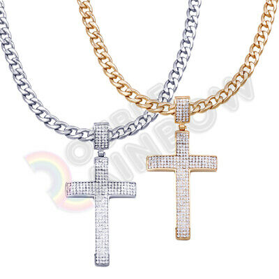 Men Stainless Steel Cross - Men Stainless Steel Necklace Cross Cuban Gold Chain Silver Iced Out Pendant #P53