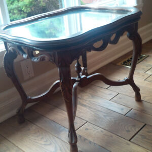 Antique Side Table with Mirrored Top