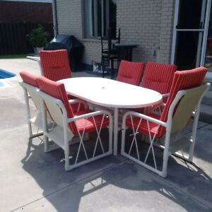 Must Sell PCV Patio Furniture Set, Lounger, Foot Rest and 3 end
