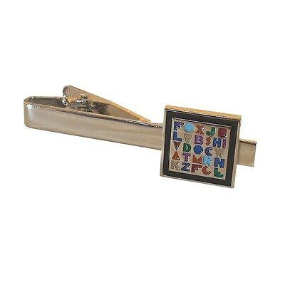 Teacher Alphabet Gift Professor Tie Clip Silver Black Wedding Bar Clasp