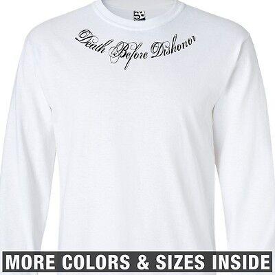 r Collar Bone LONG SLEEVE T-Shirt - Distressed Tattoo Honor (Death Before Dishonor Tattoo)