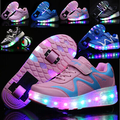 Kids Led Roller Skates Shoes Double Wheels Sport Sneakers USB Recharge Glowing