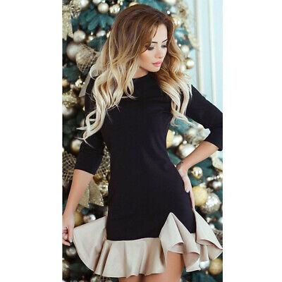 Ladies Holiday Dresses (Women 3/4 Sleeve Slim Fit Mini Dresses Ladies Ruffle Evening Dresses)