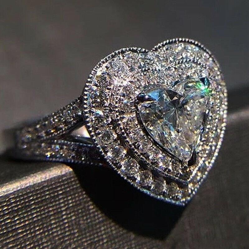 Pretty Heart Cut White Sapphire 925 Silver Rings Women Wedding Jewelry Size 6-10