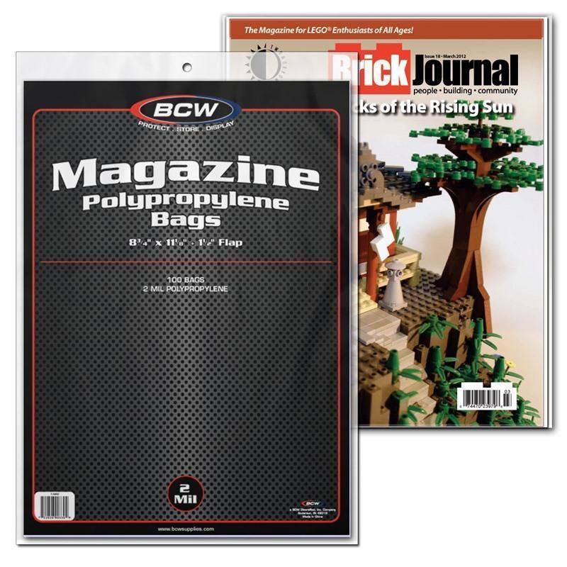 PACK OF 100 BCW MAGAZINE POLY BAGS  8 3/4 x 11 1/8 ACID FREE 2 MIL 2MIL