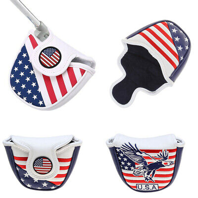 Mallet Putter Headcover Center Shaft Magnet Head Cover USA Flage Eagle 2 Styles