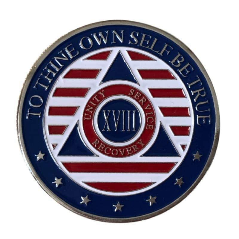 18 Year Patriotic Stars and Stripes AA/NA Recovery Medallion - Red/White/Blue