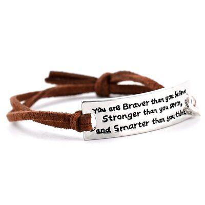 Individuation Inspirational Motivational Lettering Leather Bracelet Jewelry - Motivational Bracelets