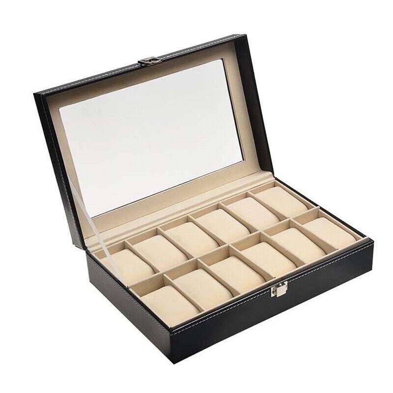 12 Slots Men Watch Box Leather Display Organizer W/ Glass Jewelry Storage