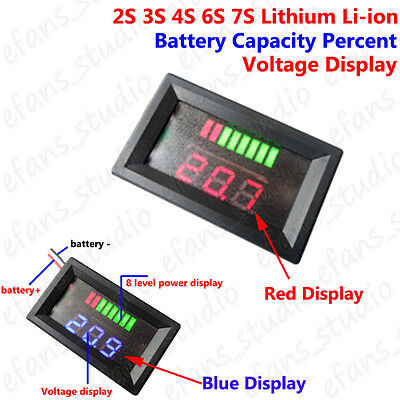 Lithium Li-ion Battery Packs BMS Capacity Guage Indicator Voltage Panel Meter Battery Meter