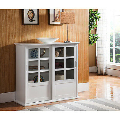 خزانة جديد Kings Brand Furniture White Finish Wood Curio Cabinet with Glass Sliding Doors