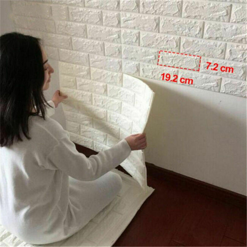Home Decoration - PE Foam 3D Self Adhesive Panels Wall Stickers Home Decor  DIY Embossed Brick