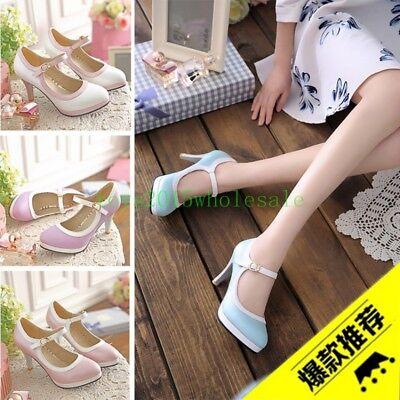 New Lolita Womens Ankle Strap High Heel Round Toe Vintage Platform Pumps Shoes Heel Ankle Strap Platform Pump