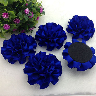 5pcs Navy blue satin ribbon big Peony Flower - Navy Ribbon