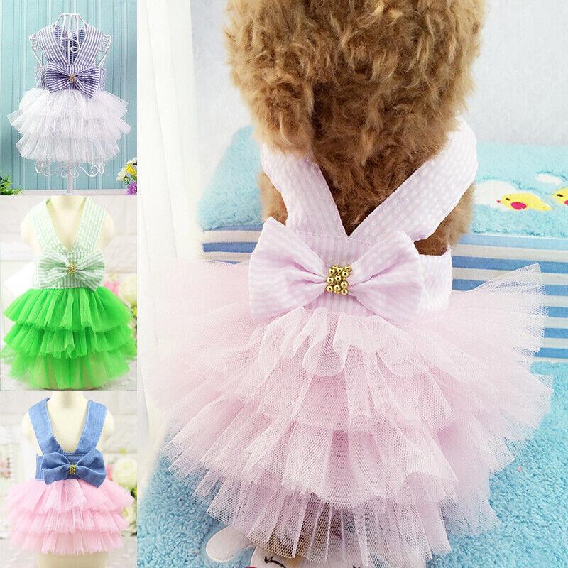 Harness Dress Puppy Summer Tutu Dress Skirt Princess Pet Dog