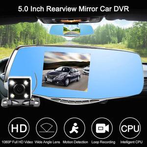 "5"" HD Dual Lens Car Rear View Mirror Monitor+Backup Reverse Cam"