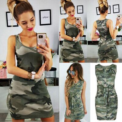 Ärmellos Camouflage (DE Damen Camouflage Minikleid Ärmellos Kleider Freizeitkleid Träger Etuikleider)
