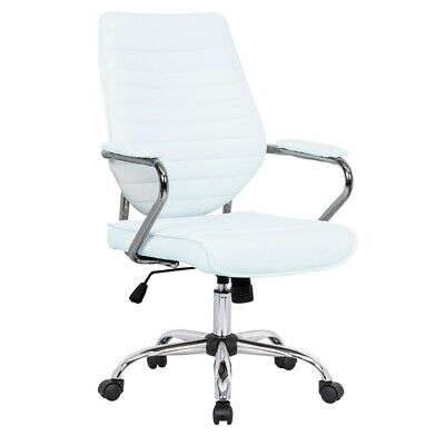 Leisuremod Winchester Modern Leatherette Executive Swivel Office Chair In White