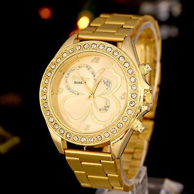 $0.01 - Women Men Unisex Geneva Gold Stainless Steel Quartz Wrist Watches Luxury Ornate