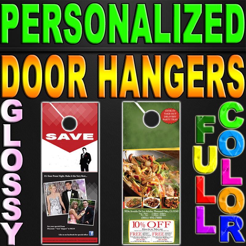 5000 Door Hangers 100LB GLOSSY FULL COLOR PERSONALIZED Doorhangers 3.5x8.5 PRINT