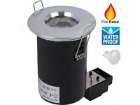 Brand New Waterproof Fire Rated GU10 LED Bathroom Downlight Spotlight Polish Chrome