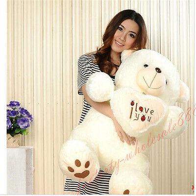 90cm Plush White Teddy Bear Soft Toys Doll Comfortable Fluffy Heart Gift Wonder