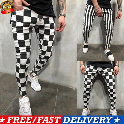 Men's Summer Fashion Slim Comfortable Striped Plaid Black White Casual Pants US (Plaid Pants Mens)