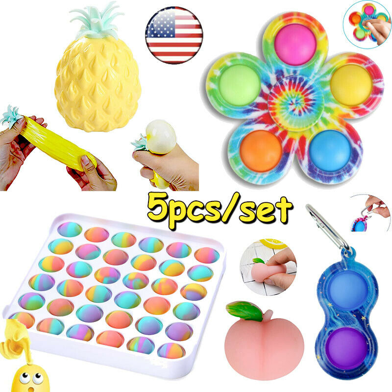 5 Pack Fidget Toy Set Popper Stress Relief ADHD Sensory Bundle Tools Game Autism