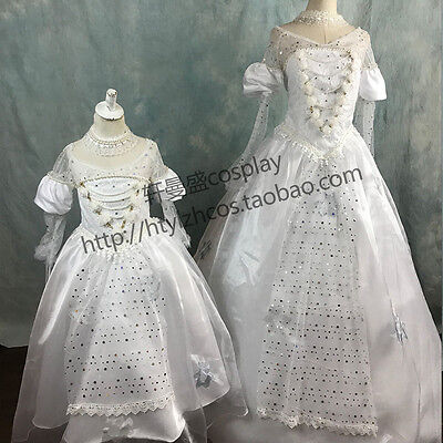 Alice in Wonderland Costume White Queen Adult Girls Dress Prom Wedding Ball Gown (Alice In Wonderland White Queen Dress)