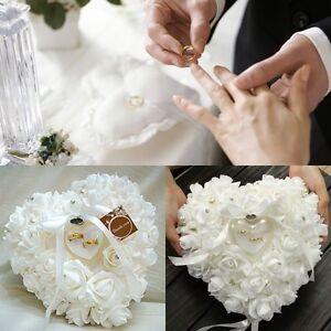 Personalized Wedding Rose HeartShaped Ring Box Bearer Holder Cushion Pillow Gift