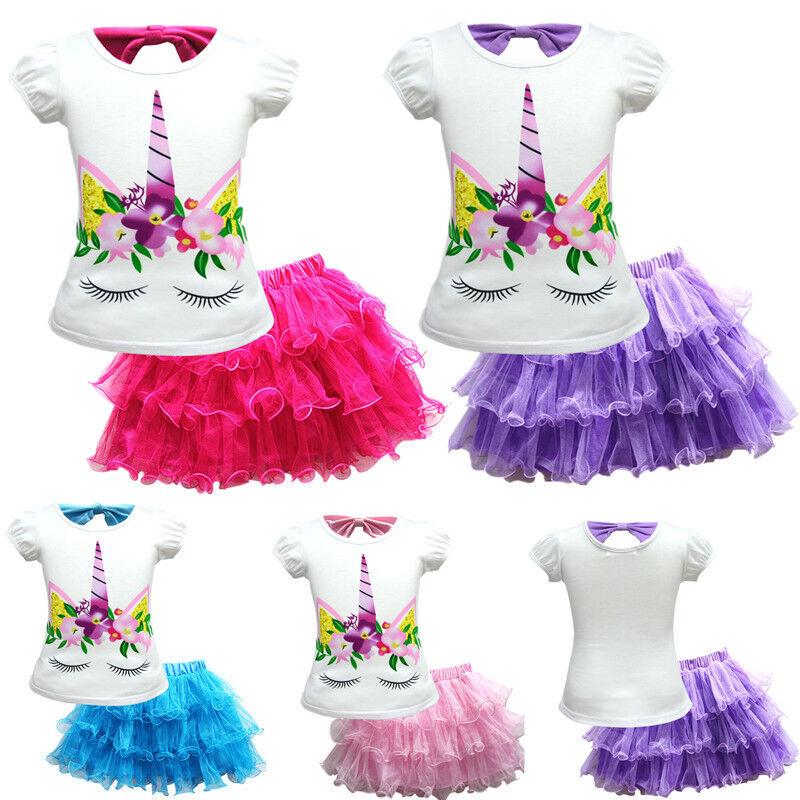 New Unicorn Bowknot Tiered Skirts Layered Dress Toddle Girls Kids Costumes